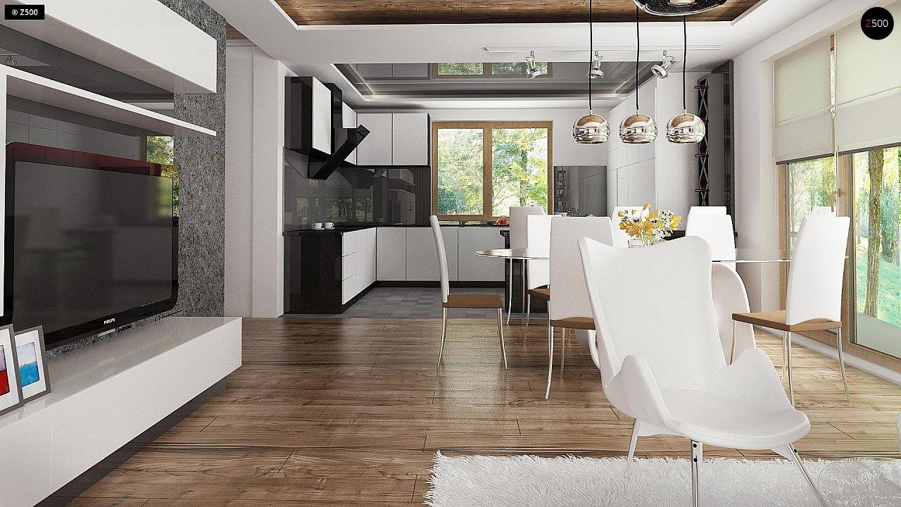 Проект комфортного дома с большим гаражом и дополнительной спальней на первом этаже. 7