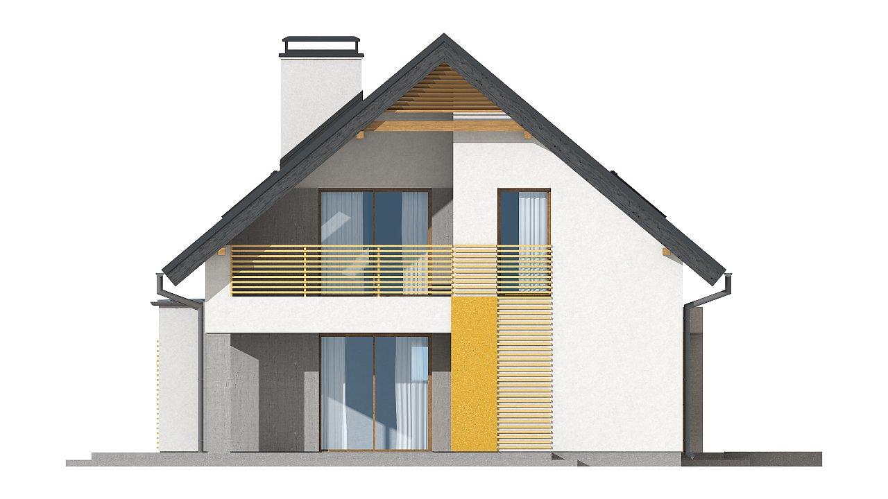 Проект аккуратного мансардного дома, с современным дизайном фасадов. 18