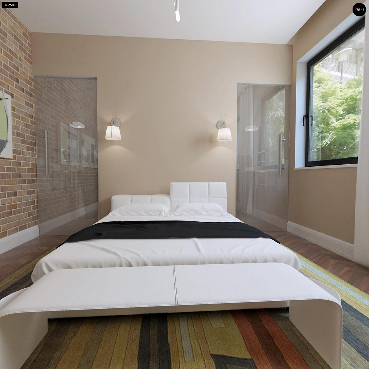 Аккуратный дом простой традиционной формы с гаражом и дополнительной спальней на первом этаже. 11