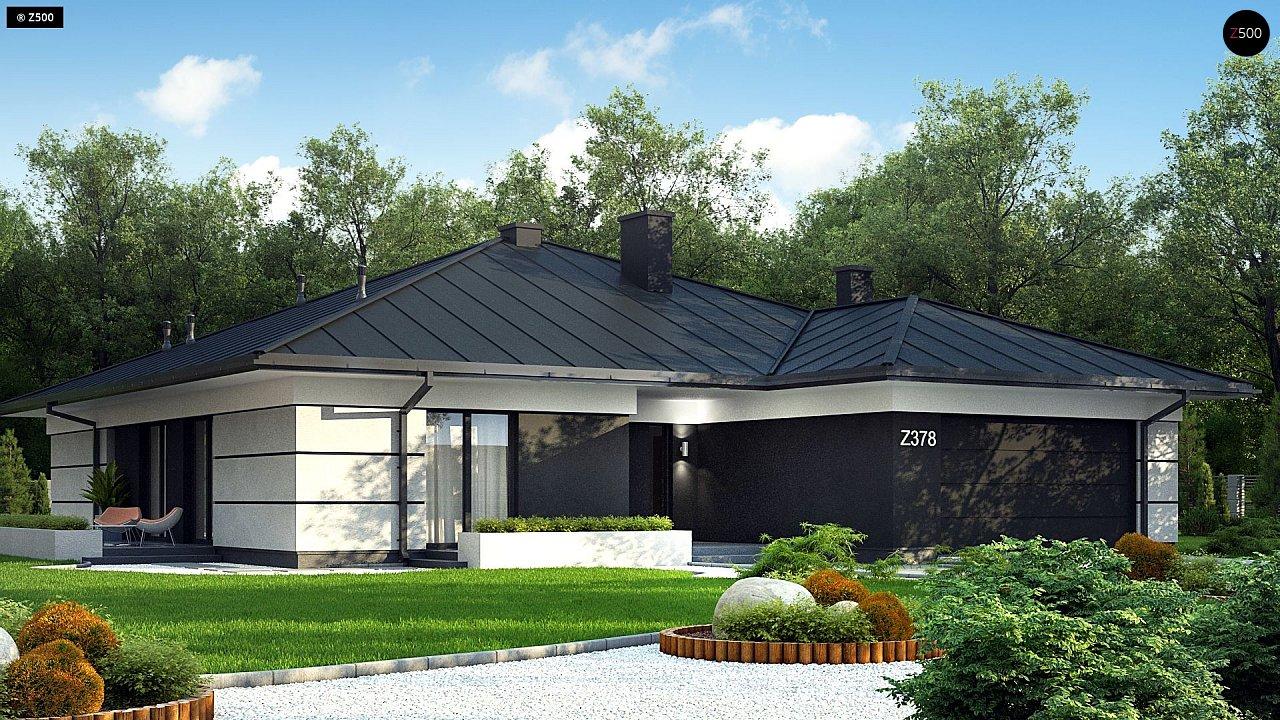 Проект одноэтажного дома с гаражом на две машины - фото 1