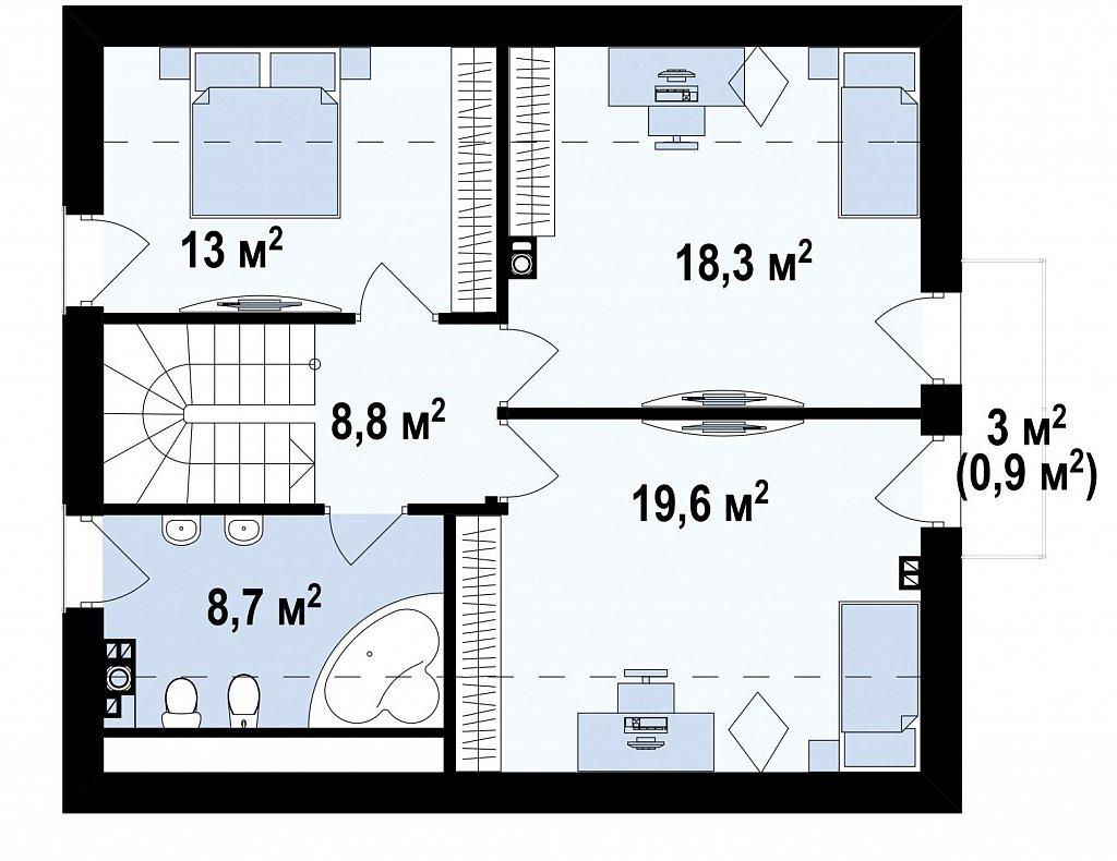 Компактный и функциональный дом с кабинетом на первом этаже и с эркером в обеденной зоне. план помещений 2