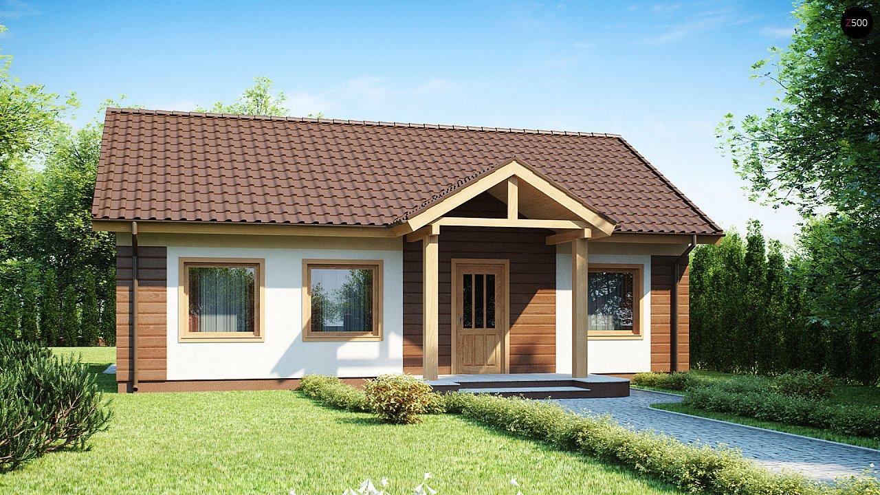 Аккуратный одноэтажный дом простой формы с двускатной крышей. 1