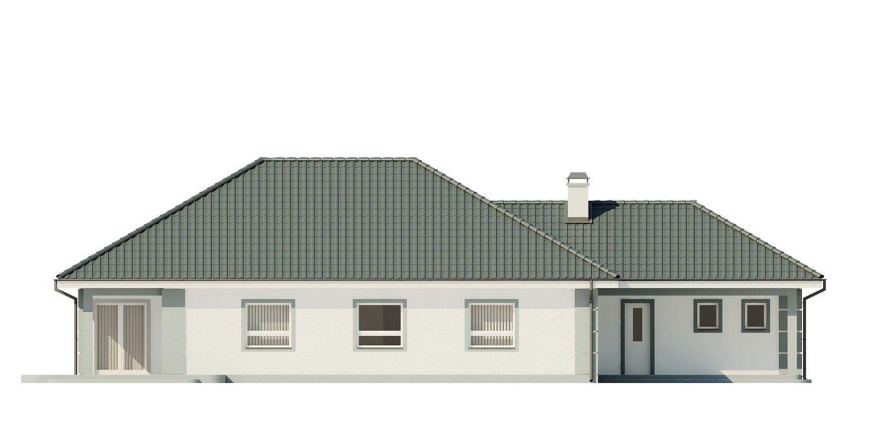 Проект одноэтажного дома с просторной гостиной и гаражом для двух машин. 4