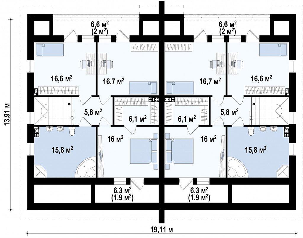 Проект домов близнецов для двух дружественных семей. план помещений 2