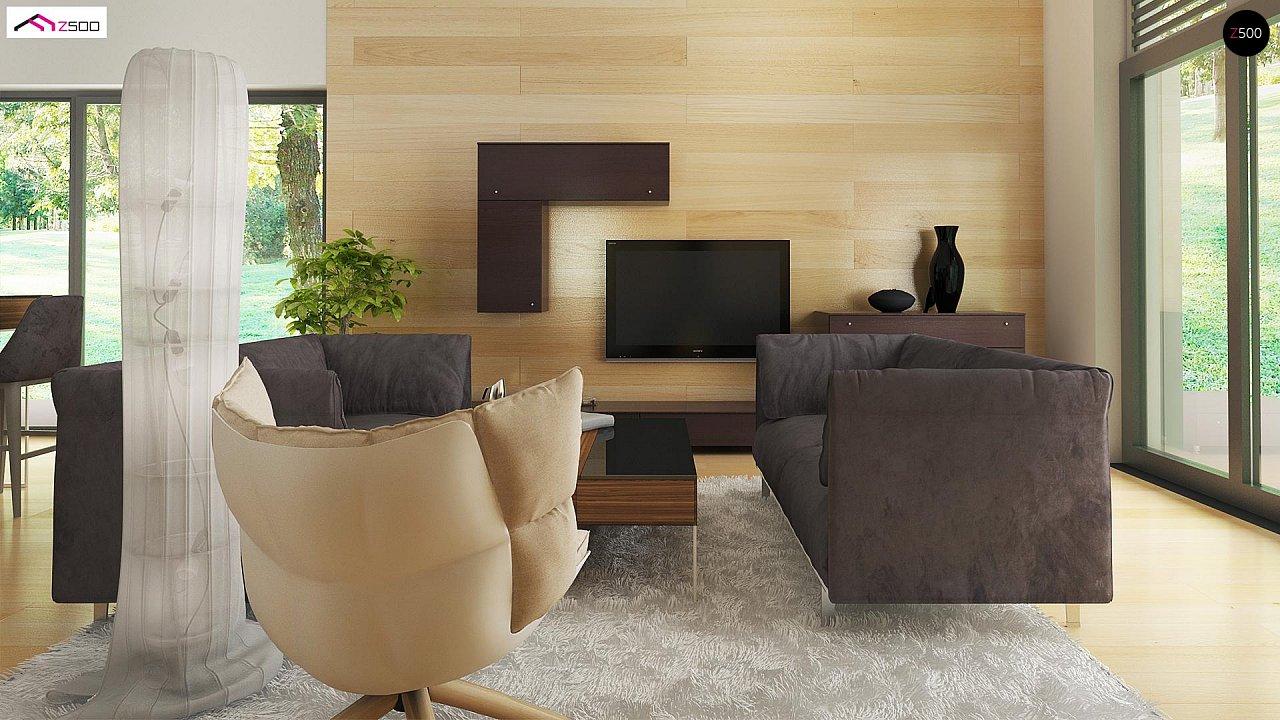 Стильный одноэтажный дом с панорамным остеклением в гостиной - фото 8