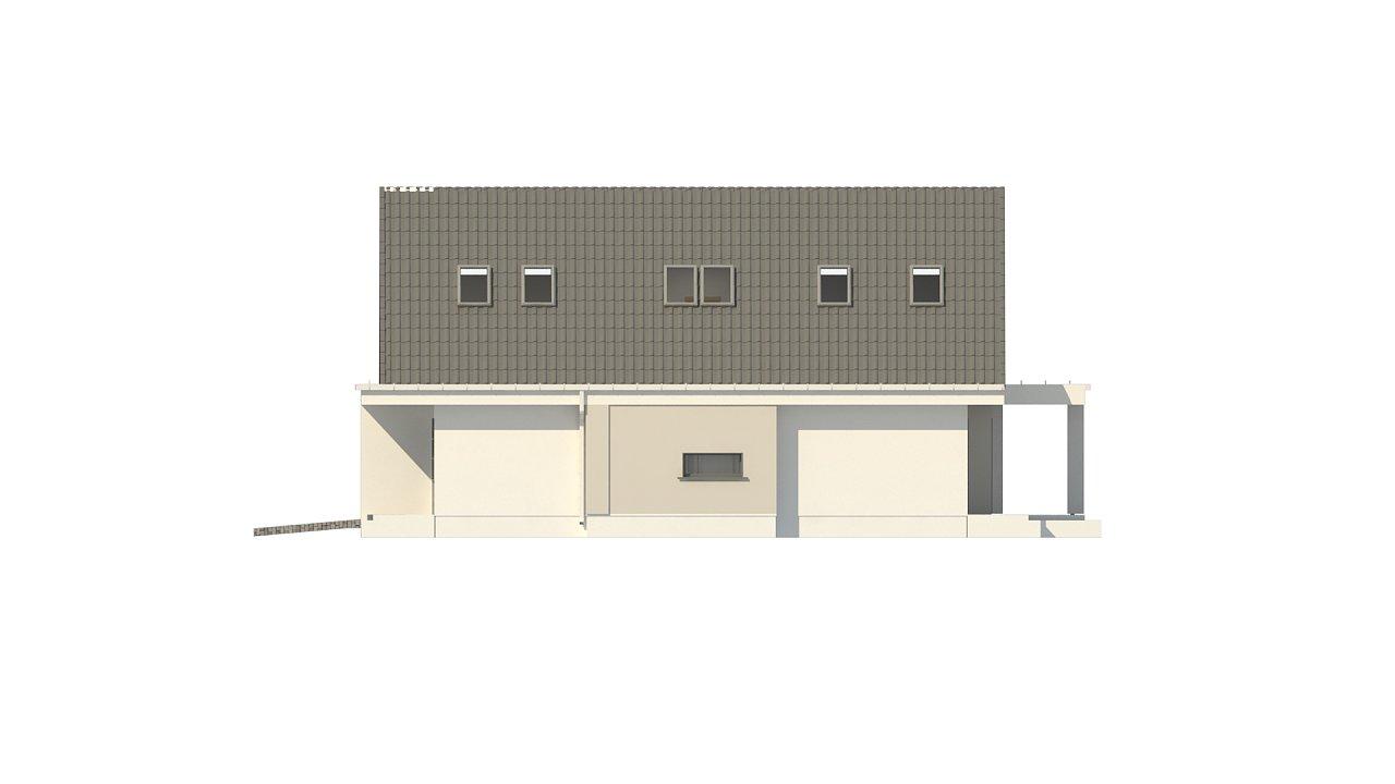 Проект классического мансардного дома с монохромным дизайном экстерьера 11