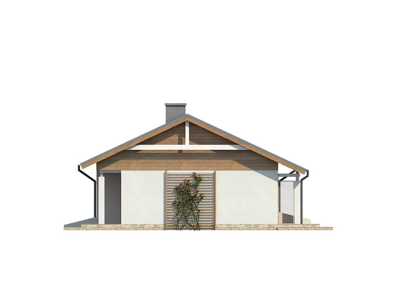 Аккуратный небольшой одноэтажный дом простой конструкции с кухней со стороны сада. 15
