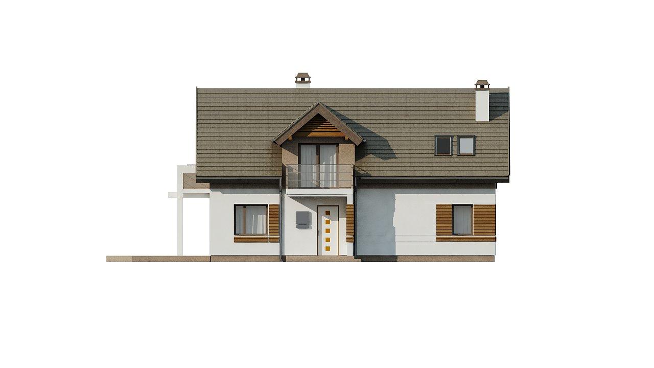 Проект функционального уютного дома с мансардными окнами и оригинальной отделкой фасадов. 16