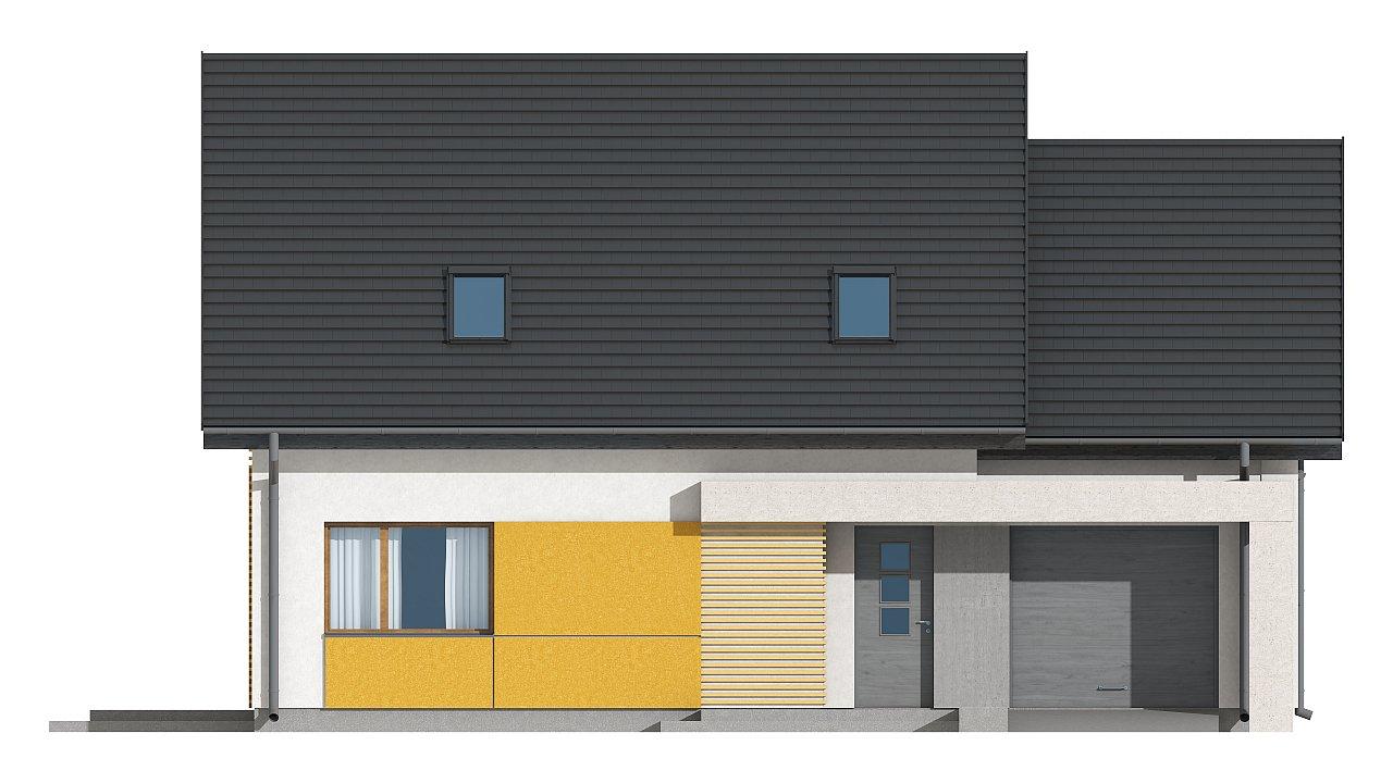 Проект аккуратного мансардного дома, с современным дизайном фасадов. 15
