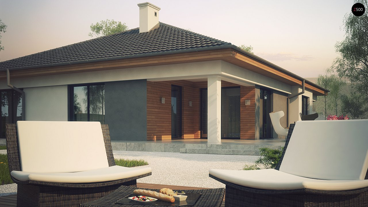 Одноэтажный просторный дом с эркером и крытой террасой. 4