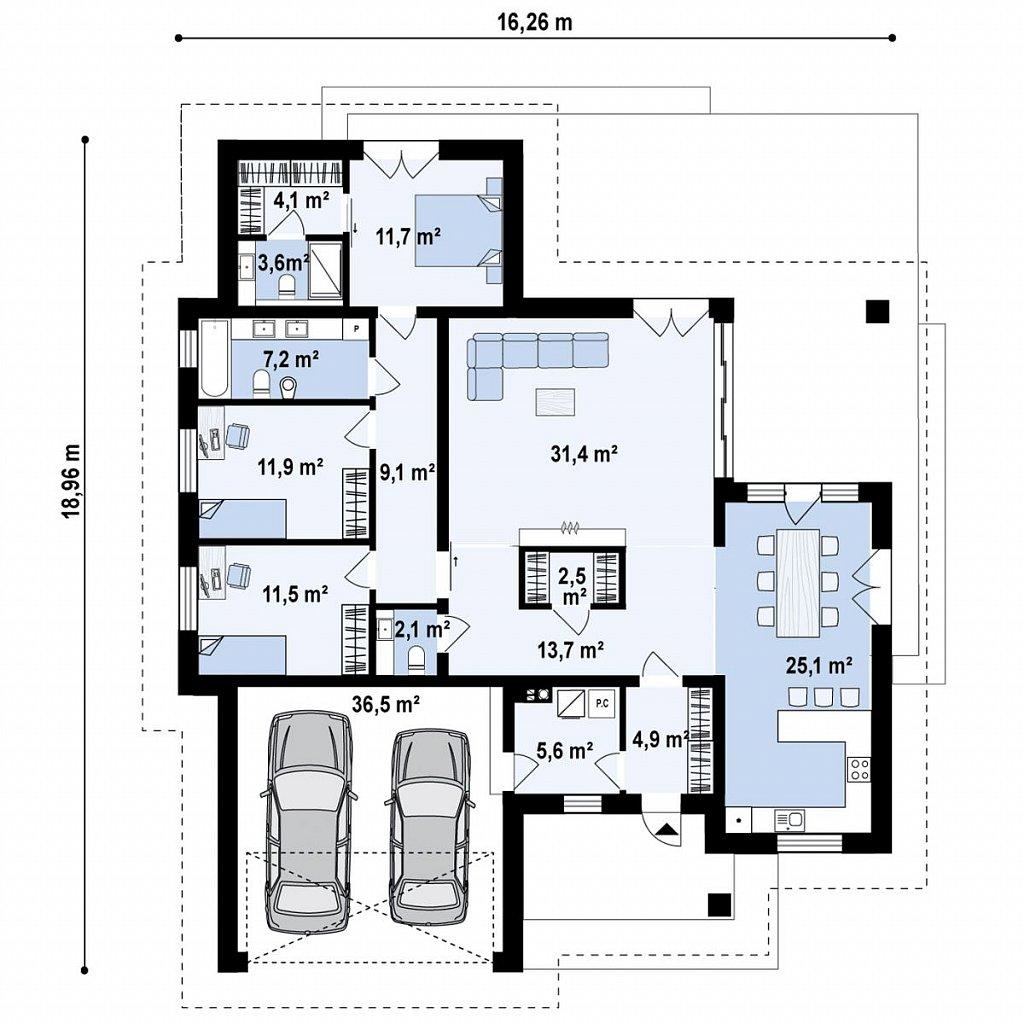 Современный одноэтажный дом с многоскатной крышей и гаражом на две машины. план помещений 1