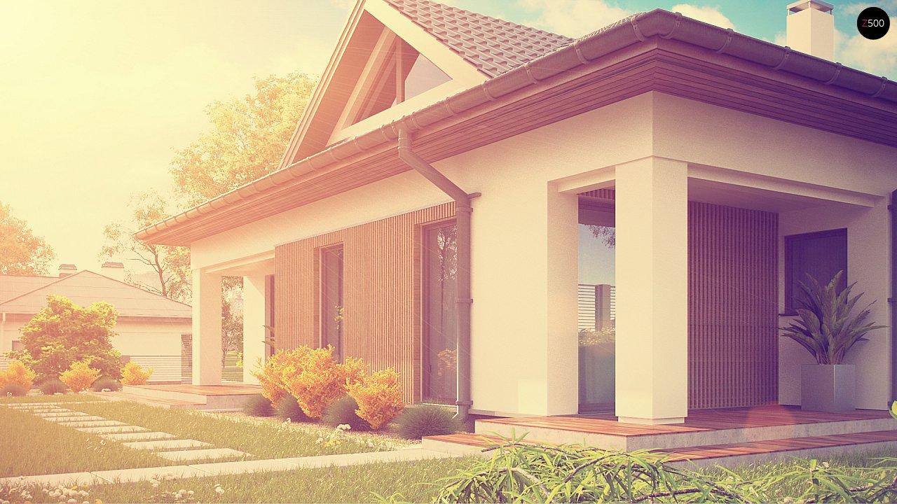 Проект комфортного одноэтажного дома с оригинальными фасадными окнами на чердаке. 8
