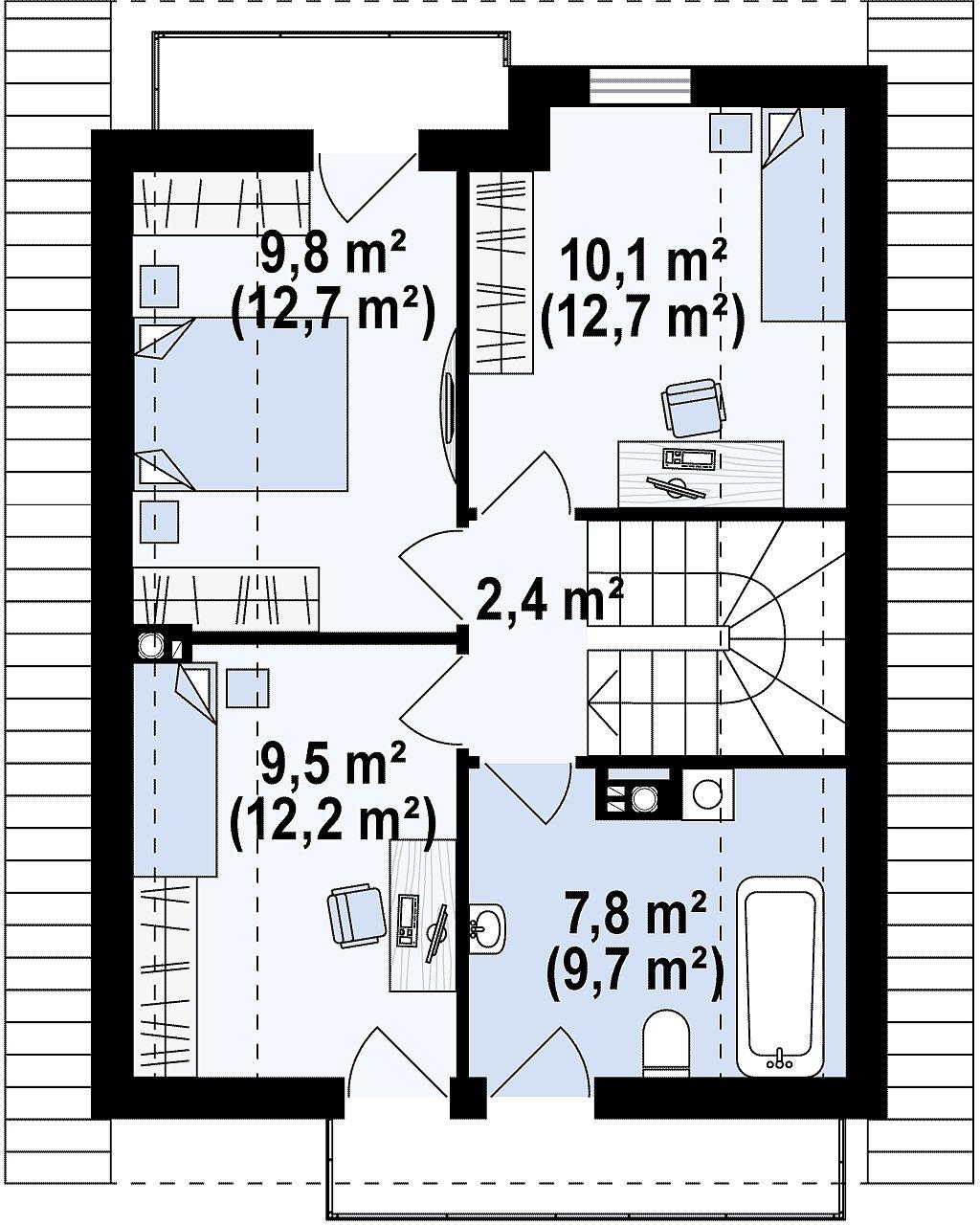 Компактный и удобный дом традиционной формы, подходящий, также, для узкого участка. план помещений 2