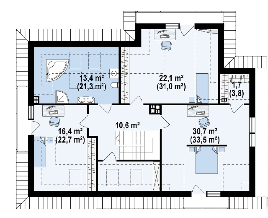 Просторный дом с большими фасадными окнами, с гаражом для двух автомобилей. план помещений 2