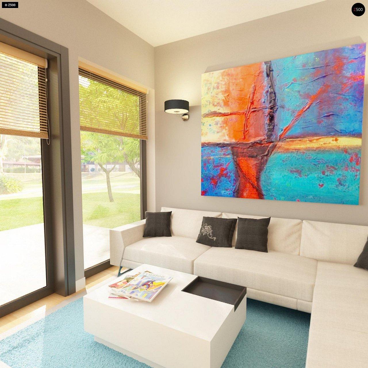 Практичный одноэтажный дом с 4-х скатной кровлей и угловым окном в кухне. 8