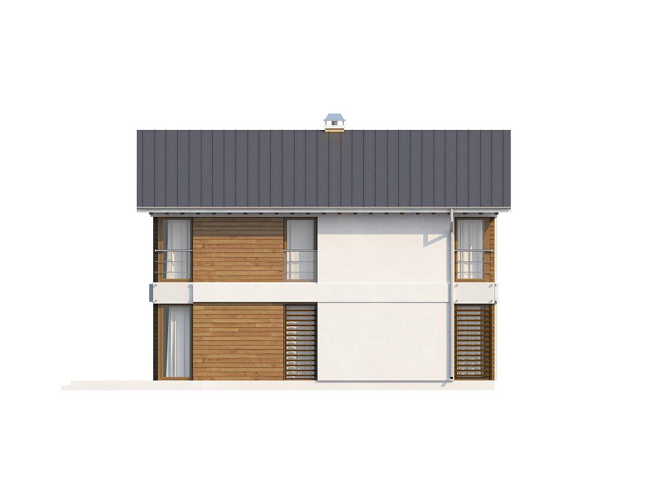 Компактный двухэтажный дом с большими окнами, подходящий для узкого участка. 6