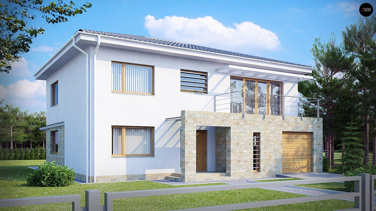 Двухэтажный дом с гаражом для одной машины, с интересным оформлением входной зоны. 1