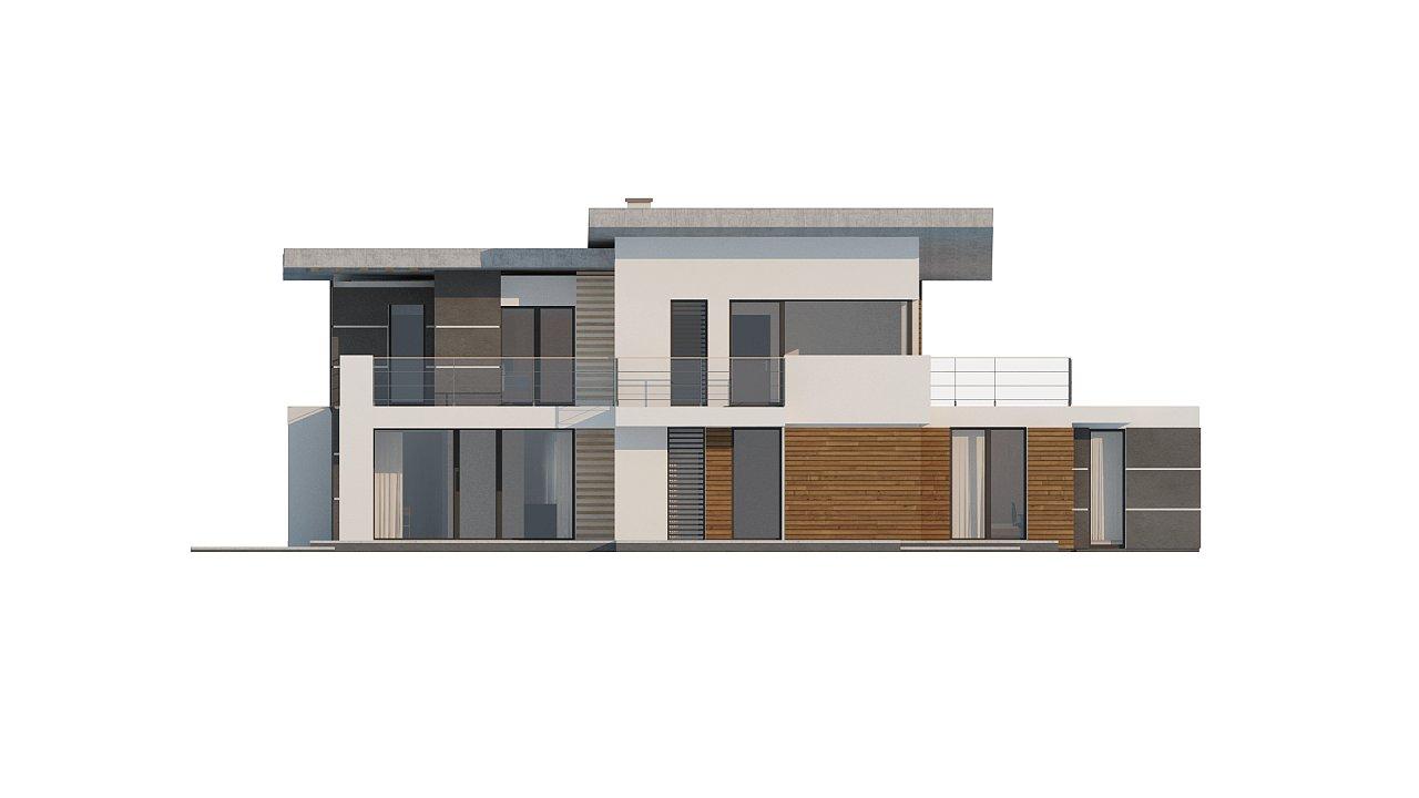 Современный двухэтажный дом с гаражом и террасой, спальней на первом этаже и ванной комнатой 23