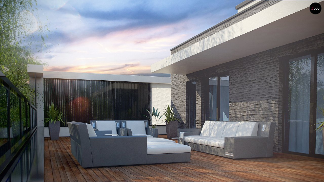 Современный проект домов-близнецов с большим гаражом и террасой на втором этаже. 10