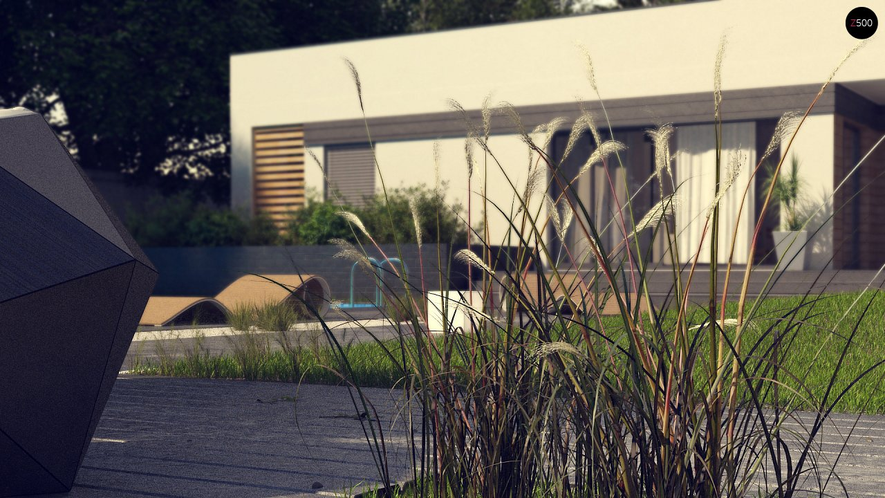 Современный одноэтажный дом хай-тек с навесом для автомобиля 6