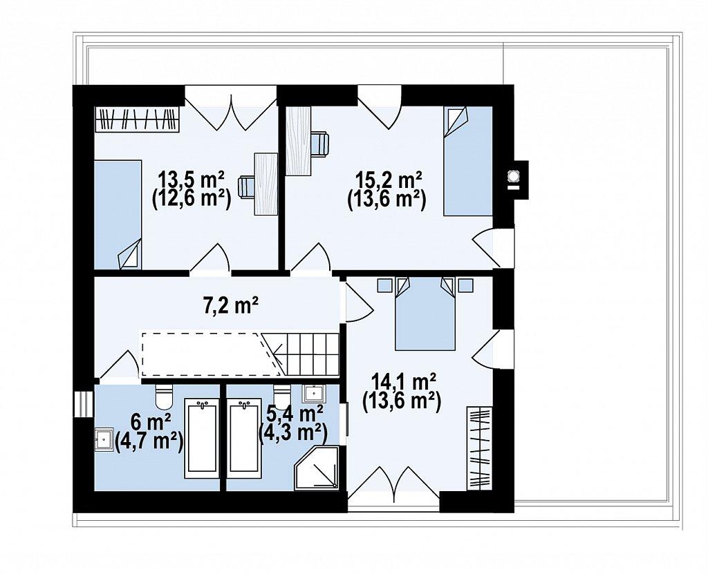 Дом с мансардой, гаражом и большой террасой план помещений 2