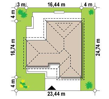 Проект удобного одноэтажного дома с большой угловой террасой. план помещений 1