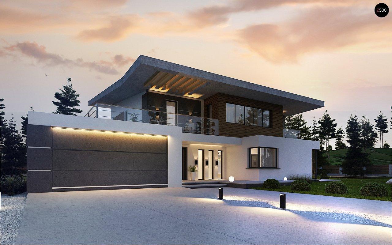 Современный двухэтажный дом с гаражом и террасой, спальней на первом этаже и ванной комнатой 3