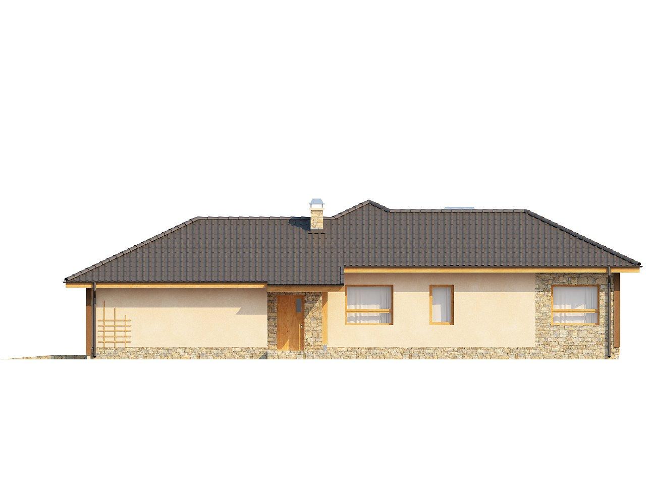 Проект одноэтажного дома с выступающим фронтальным гаражом. - фото 6