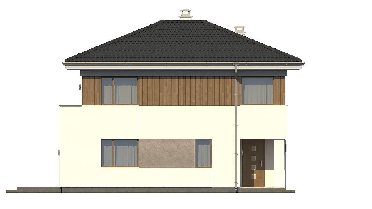 Проект компактного двухэтажного дома строгого современного стиля. 24