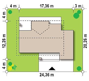 Проект мансардного дома в европейском стиле с балконом. план помещений 1
