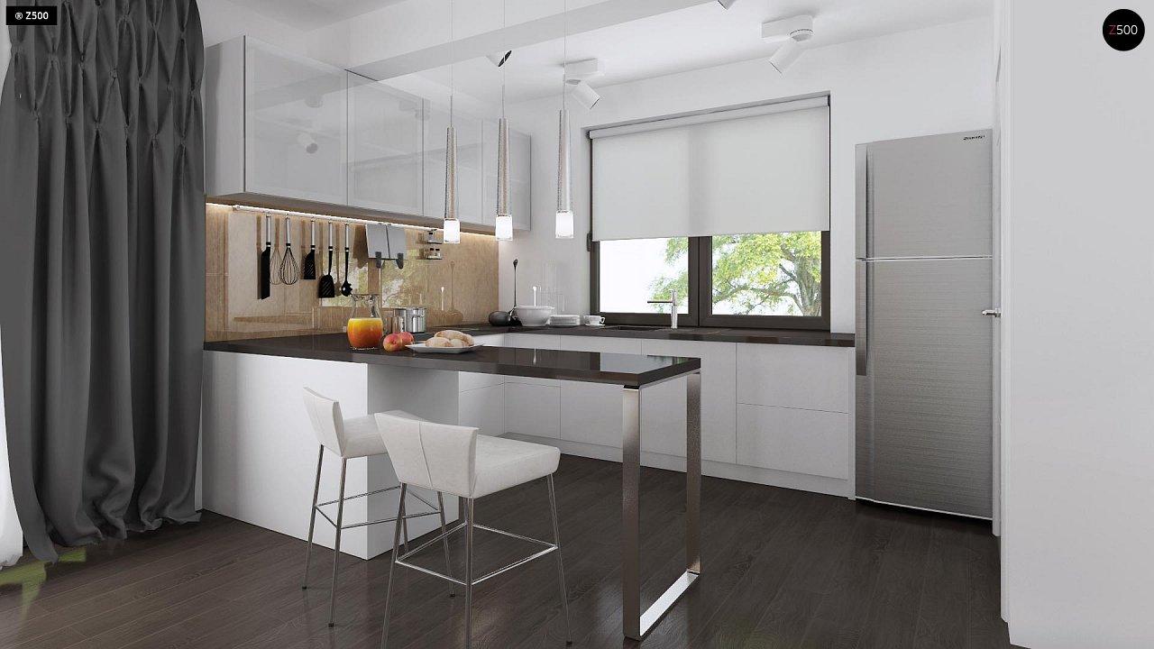 Проект удобного одноэтажного дома с гаражом для двух автомобилей и большим хозяйственным помещением. 7