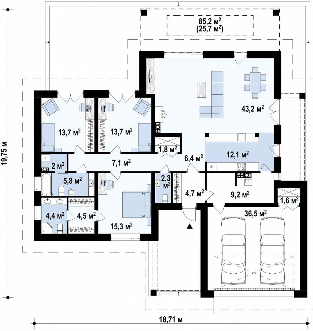 Одноэтажный коттедж со сложной кровлей и большой комфортной террасой план помещений 1