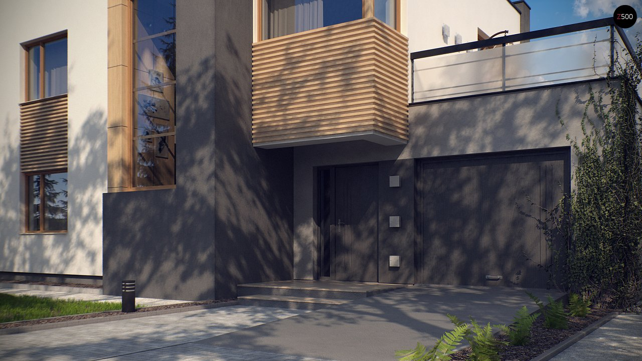 Двухэтажный дом в модернистского дизайна с гаражом и террасой на верхнем этаже. 2