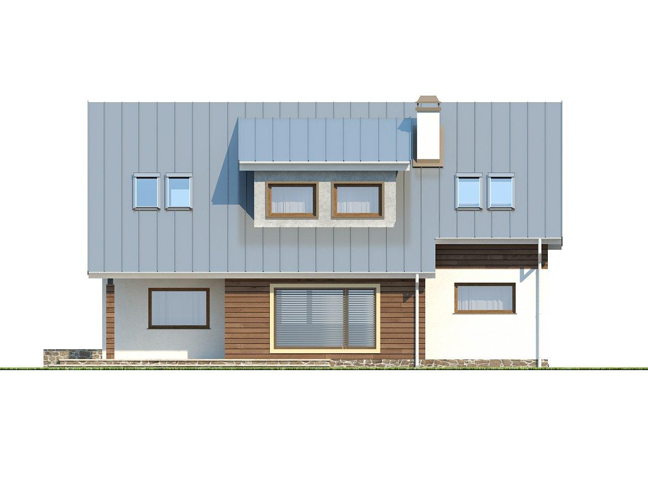 Проект функционального дома с современным мансардным окном, с дополнительной спальней на первом этаже. 4