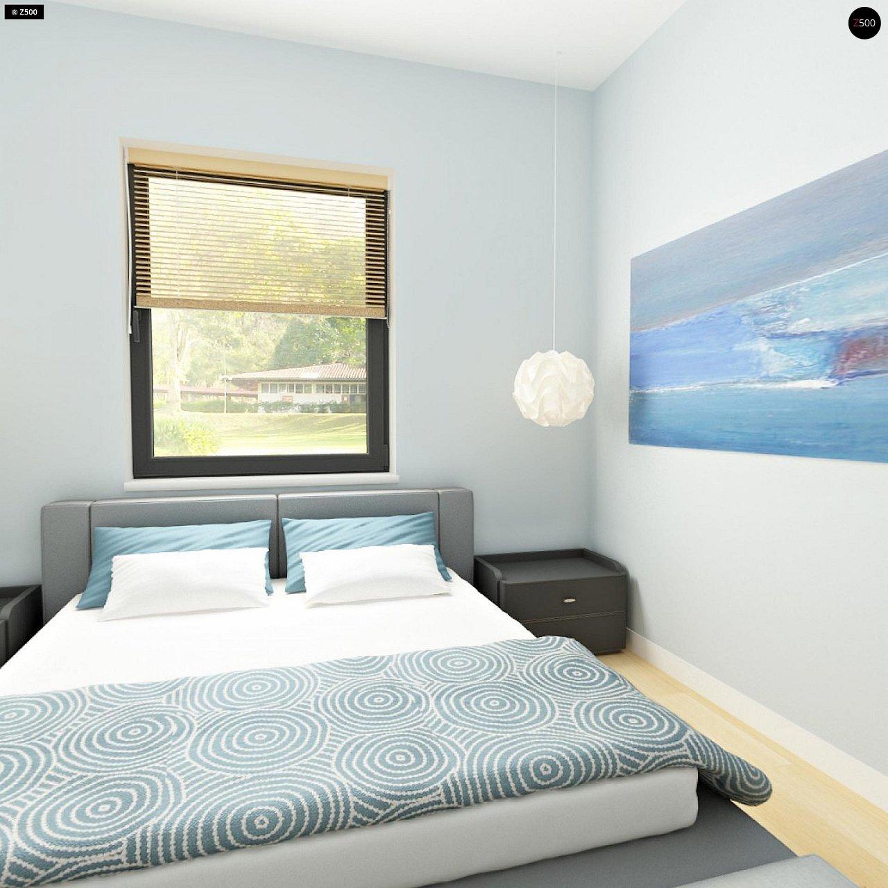 Практичный одноэтажный дом с 4-х скатной кровлей и угловым окном в кухне. 13
