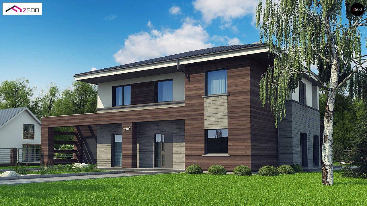 Проект двухэтажного дома простой формы с боковым гаражом - фото 2