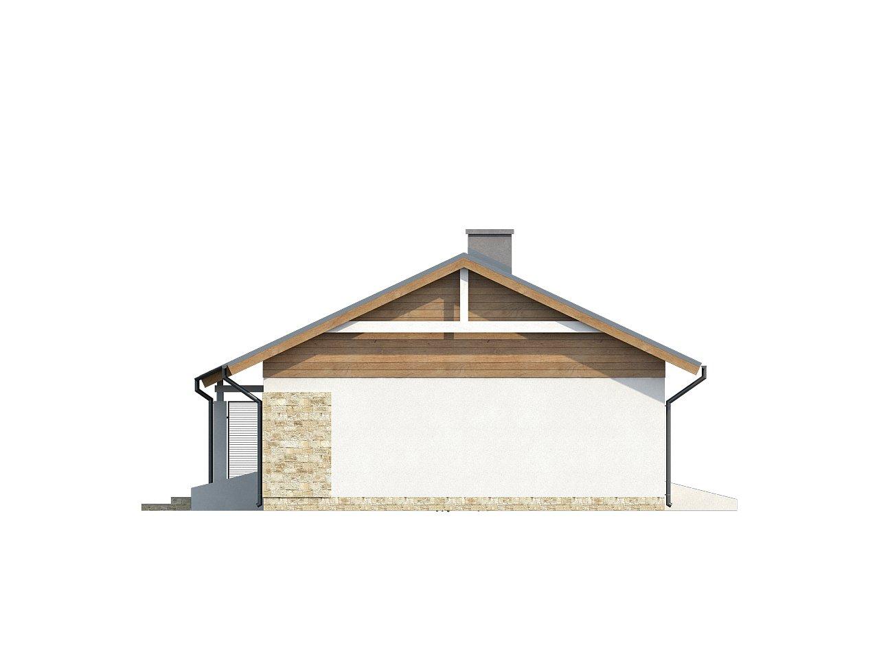 Аккуратный небольшой одноэтажный дом простой конструкции с кухней со стороны сада. 14