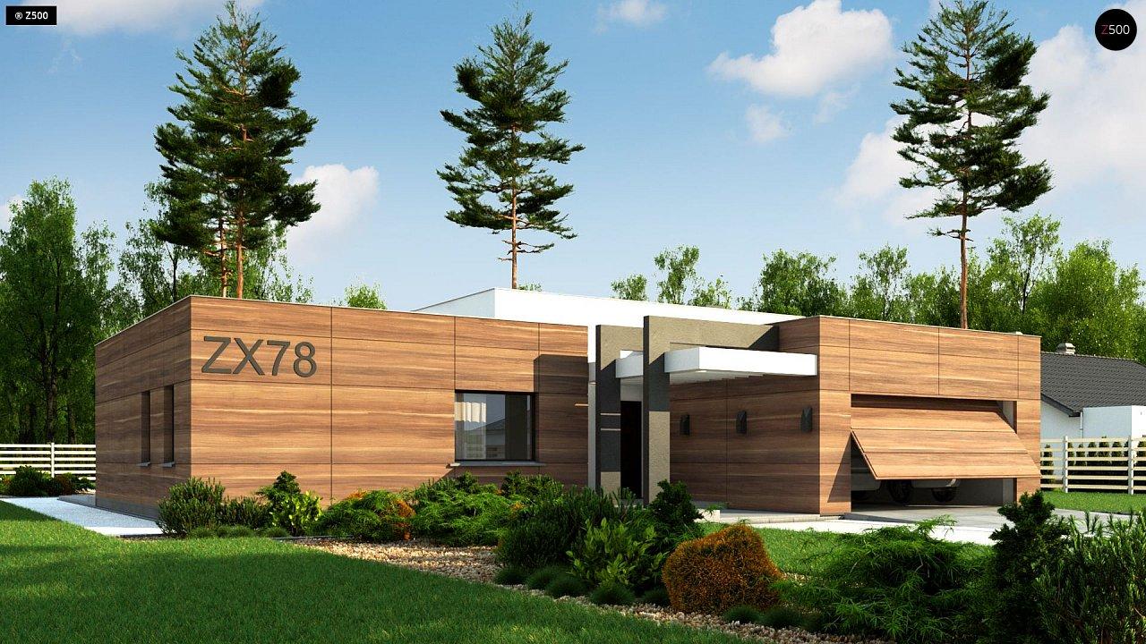 Одноэтажный дом с плоской кровлей, тремя спальнями и гаражом на две машины 2