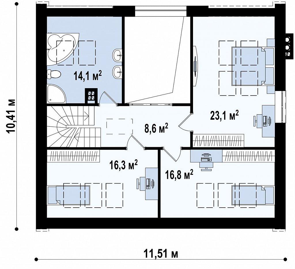 Комфортный дом с оригинальным остеклением в гостиной и вторым светом. план помещений 2