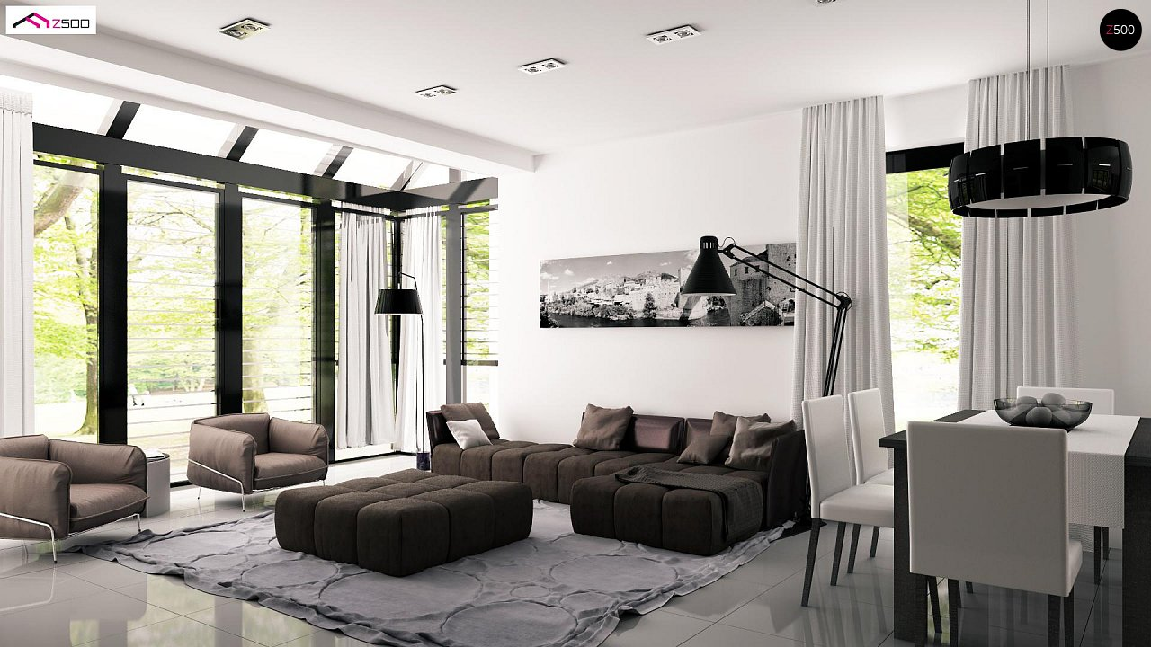 Проект дома с мансардой, с дополнительной спальней на первом этаже и с застекленной террасой. 6