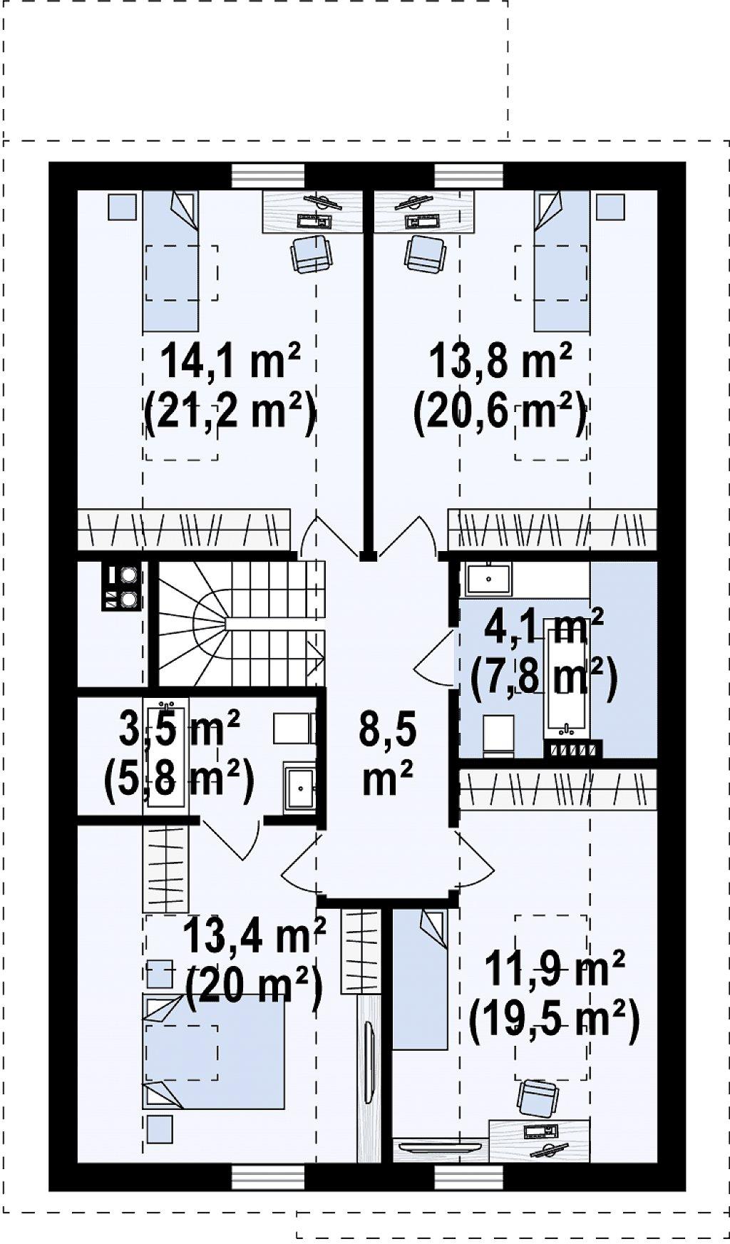 Проект классического мансардного дома с монохромным дизайном экстерьера план помещений 2