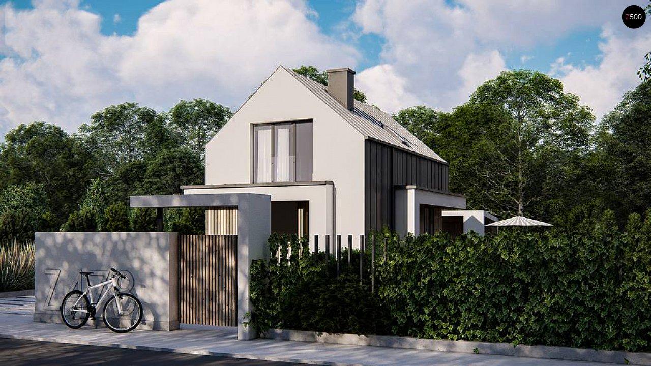 Проект одноэтажного дома с двускатной крышей для небольшого участка 2