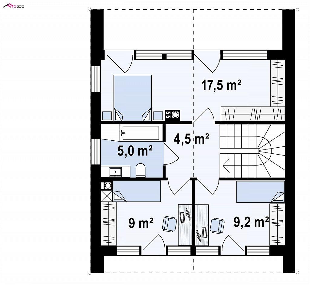 Двухэтажный коттедж в европейском стиле с комнатой на первом этаже. план помещений 2