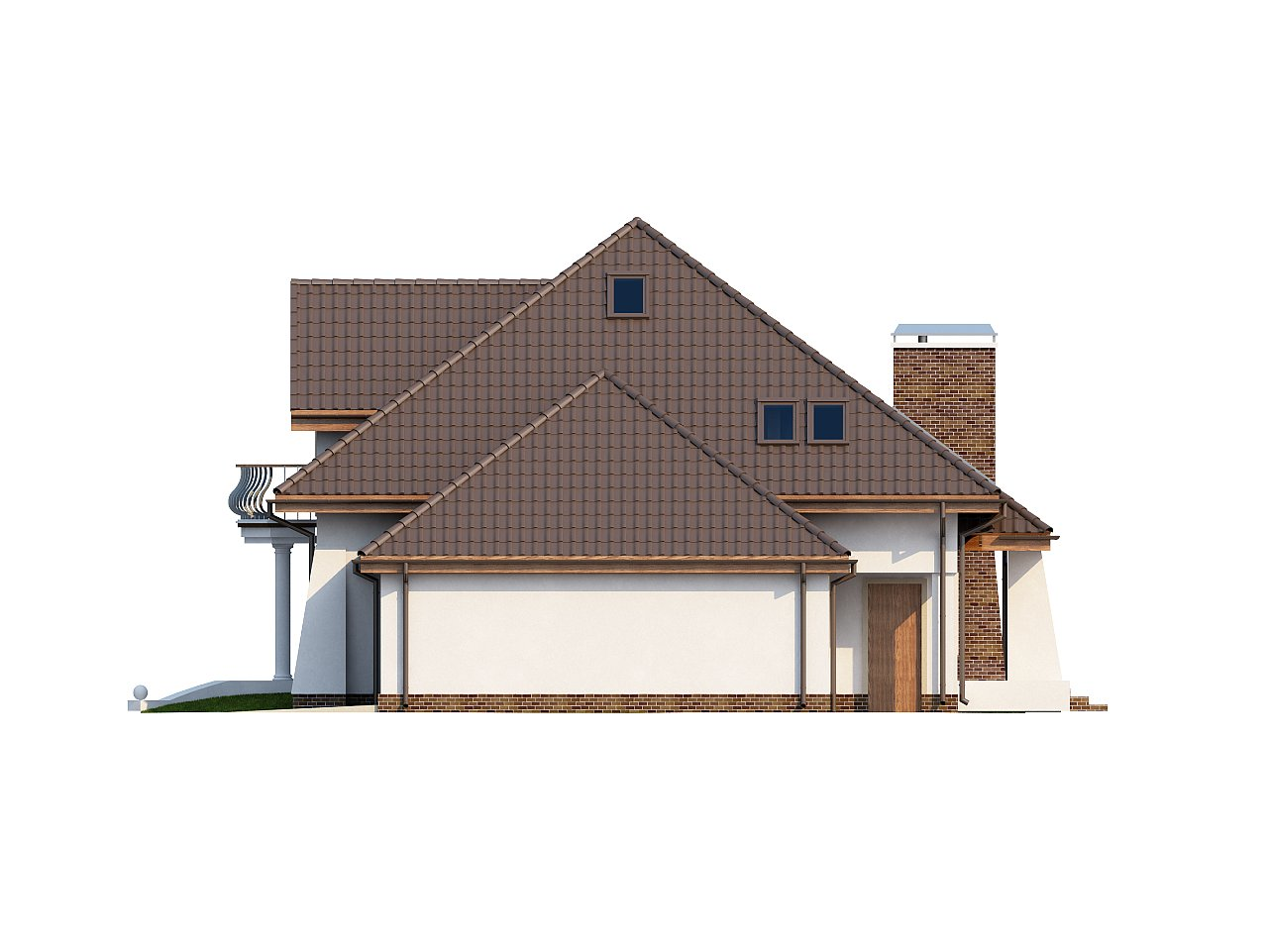 Удобный дом в классическом стиле с красивыми мансардными окнами и балконом. 6