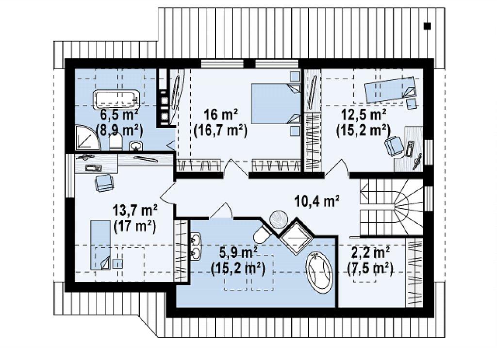 Проект функционального дома с современным мансардным окном, с дополнительной спальней на первом этаже. план помещений 2