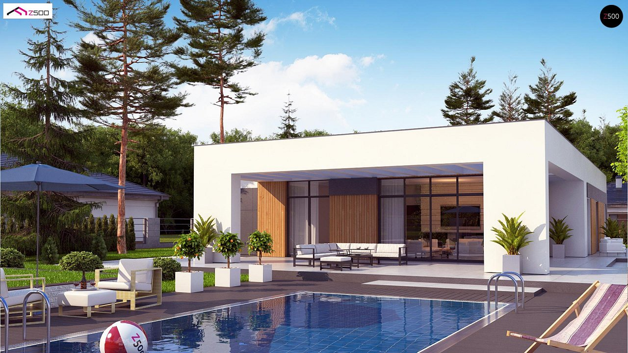 Проект стильного одноэтажного дома в современном стиле 2