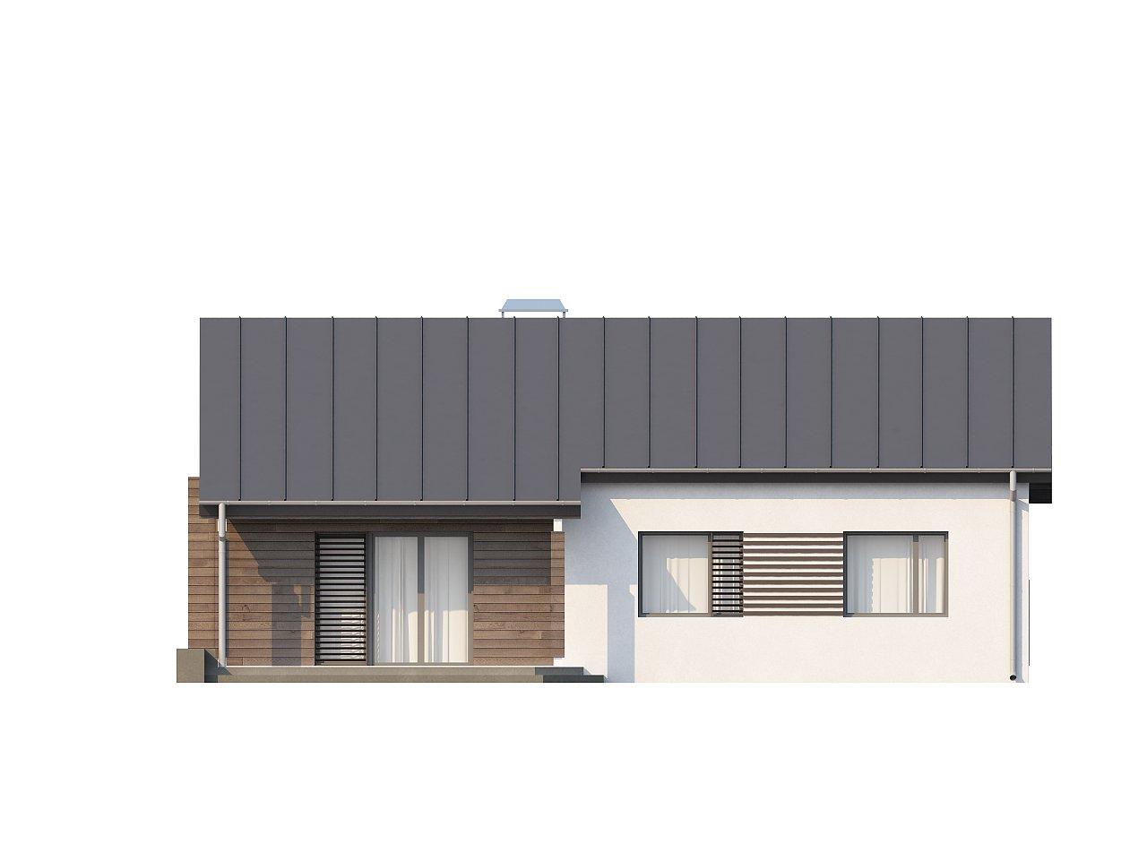 Функциональный одноэтажный дом с современными элементами отделки фасадов. - фото 22