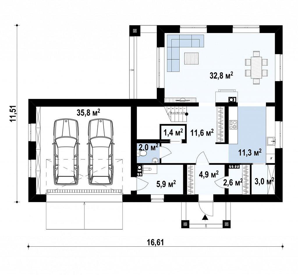 двухэтажный дом с гаражом на две машины в классическом стиле. план помещений 1