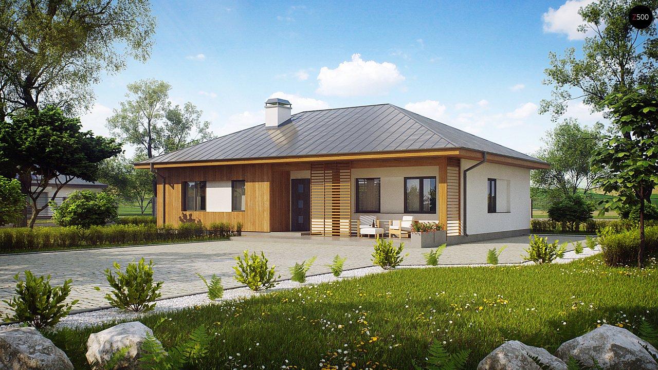 Практичный одноэтажный дом традиционной формы с многоскатной крышей. 1