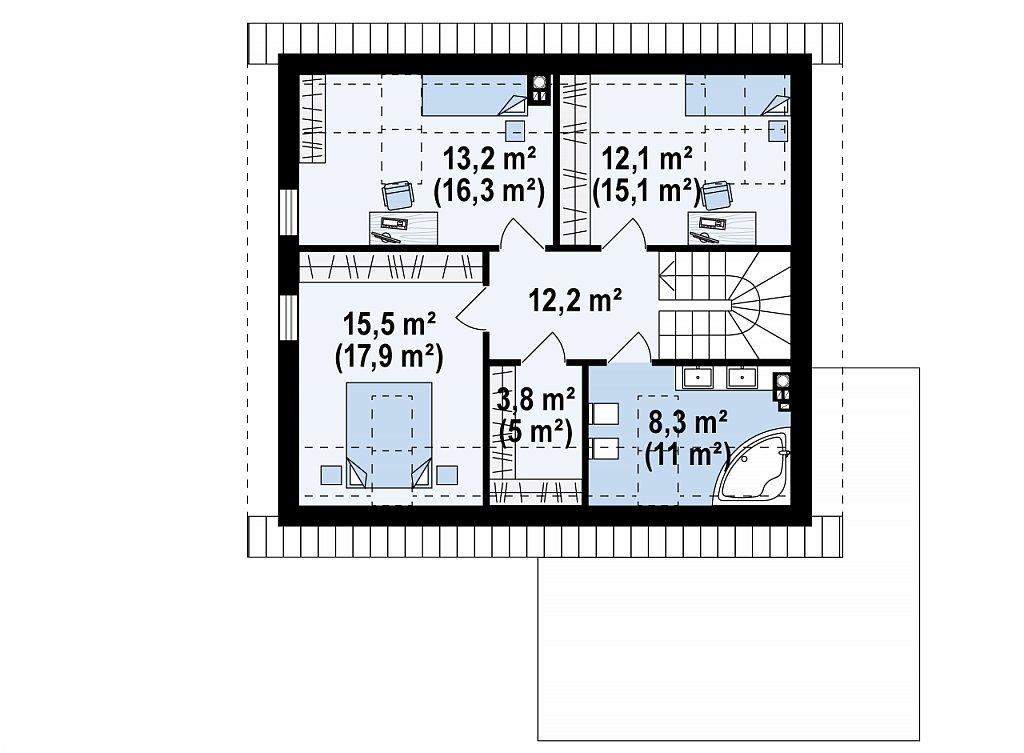 Мансардный дом с гаражом, расположенным с фронтальной стороны фасада план помещений 2